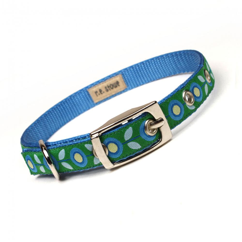 blue and green mod flora metal buckle dog or cat collar (1/2 inch)