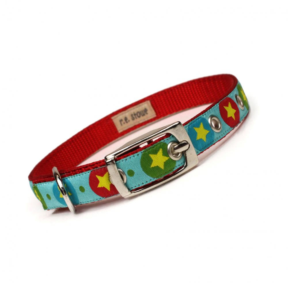 red and aqua stars metal buckle dog or cat collar (1/2 inch)