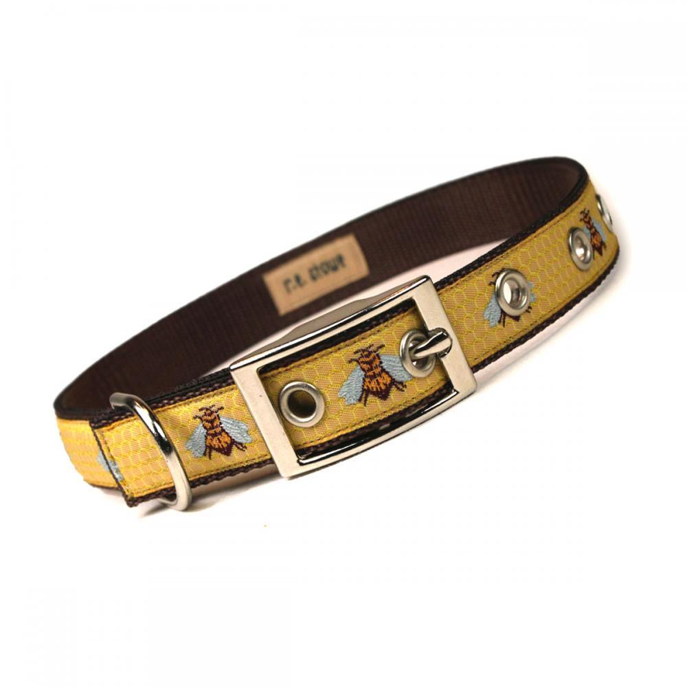 honey bee metal buckle dog collar (3/4 inch)