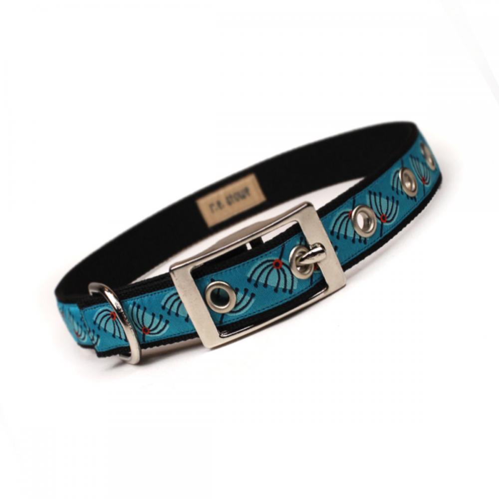 turquoise mod pod metal buckle dog collar (3/4 inch)