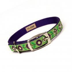 purple and lime mod flora metal buckle dog or cat collar (1/2 inch)