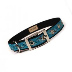 turquoise mod pod metal buckle dog collar (3/4 inch)