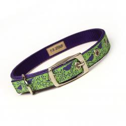 lime and purple modern birds metal buckle dog or cat collar (1/2 inch)